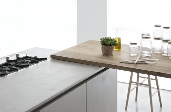 Кухня Polaris Cucine. Барная стойка расположена перпендикулярно кухонной столешнице.