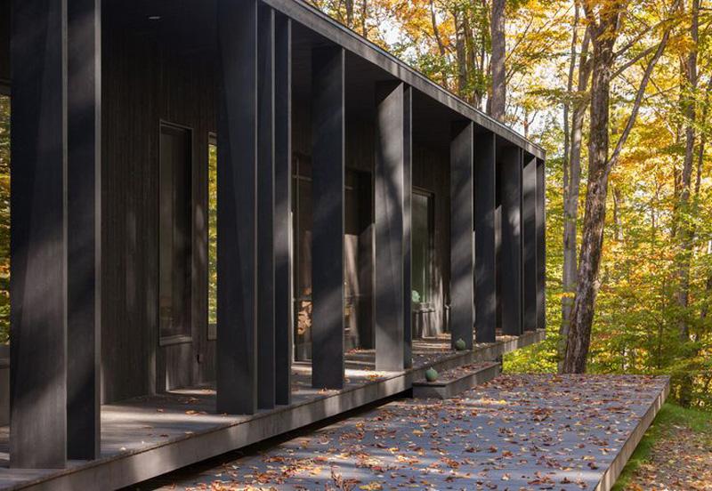 В любое время года игра света и тени украшает черный фасад дома. Особенно красиво осенью.