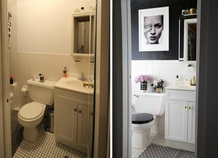 Яркий пример того как можно изменить ванную комнату не внося радикальных изменений и не делая ремонт.