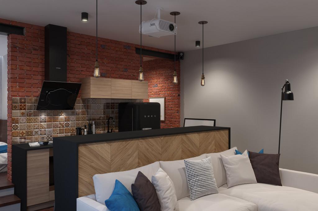 Барная стойка отделяет кухню от гостиной, одновременно объединяя жилую комнату в общую экосистему.