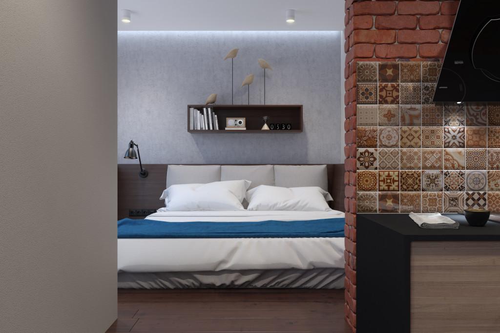 Спальня несколько приподнята относительно пола квартиры. Поскольку в квартире живет холостяк, дверь в спальне даже не предусматривается.