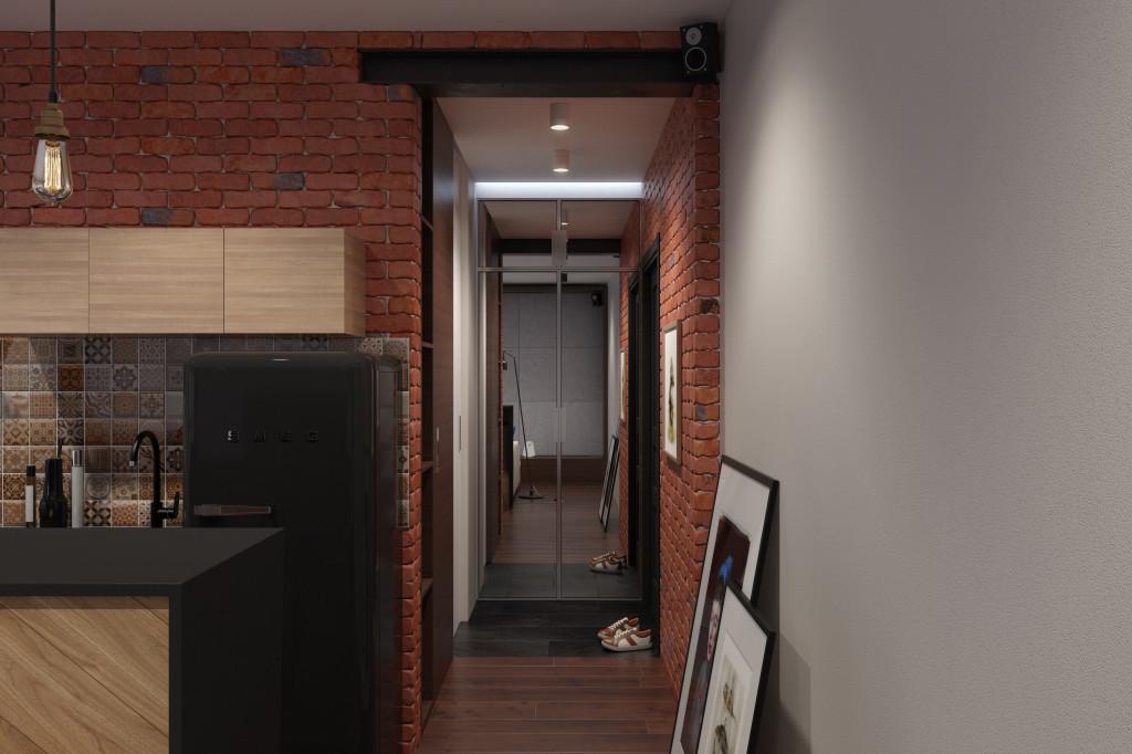 В торце прихожей удалось поставить плательный шкаф с зеркальными дверьми. Зеркало расширяет маленький коридор, что дает интересный эффект.